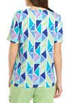 Womens Geometric Turquoise Skies Top
