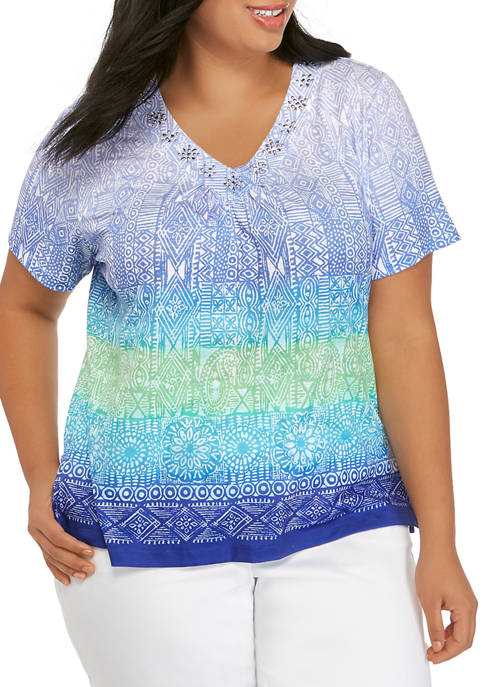 Alfred Dunner Plus Size Ombre Geometric Top