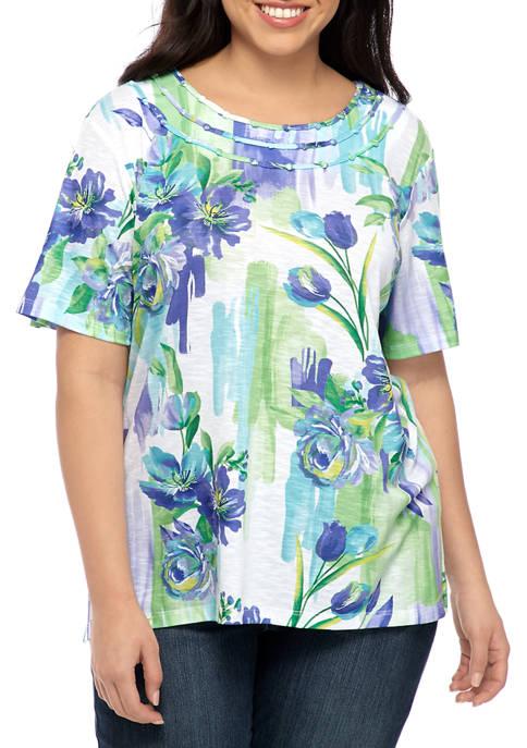 Alfred Dunner Plus Size Short Sleeve Brushstroke Floral