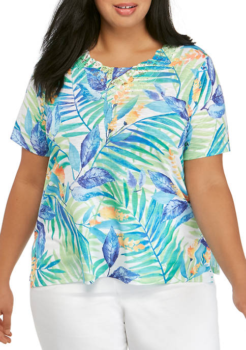 Alfred Dunner Plus Size Short Sleeve Tropical Lace