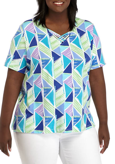 Alfred Dunner Plus Size Short Sleeve Textured Geometric