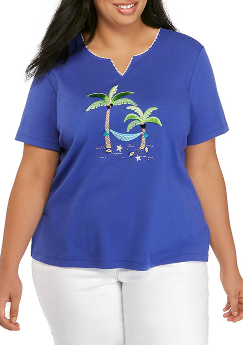 Alfred Dunner Plus Size Short Sleeve Palm Tree