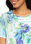 Petite Turquoise Skies Short Sleeve Brushstroke Floral T-Shirt