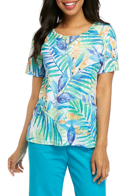 Alfred Dunner Petite Turquoise Skies Tropical Lace Embellished