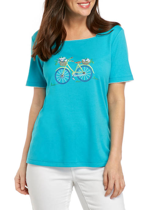 Alfred Dunner Petite Turquoise Skies Top