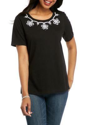 Alfred Dunner Womens Charleston 2020 Soutache Stripe Yoke T-Shirt