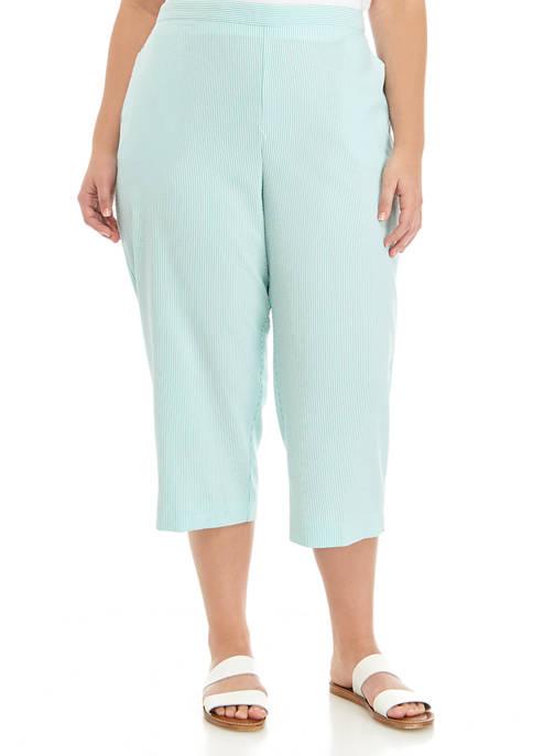 Alfred Dunner Plus Size Stripe Capri Pants