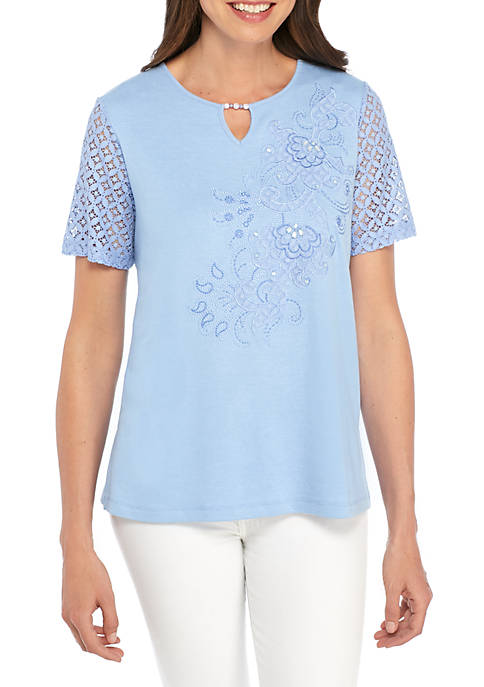 Alfred Dunner Daydream Lace Scroll Applique Top