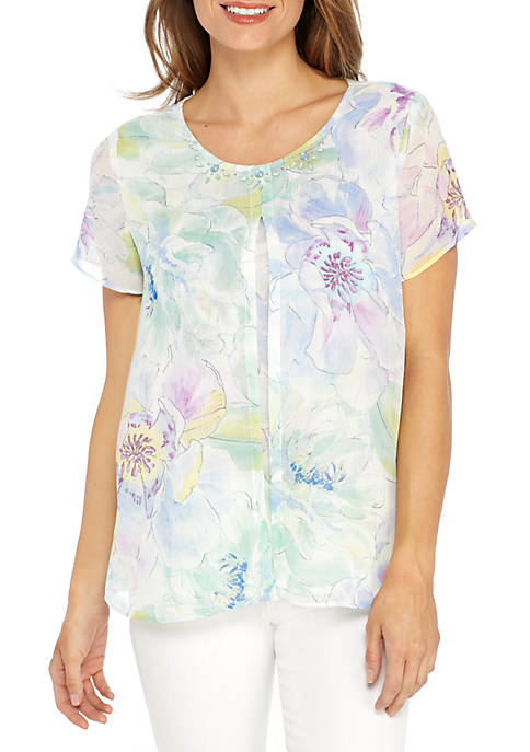Alfred Dunner Daydream Floral Split Overlay Knit Top