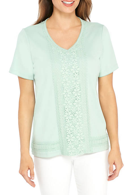 Alfred Dunner Daydreamer Center Lace Knit Top