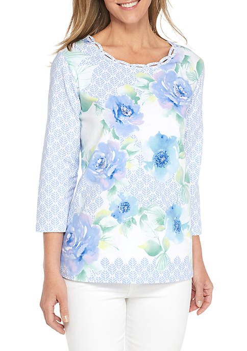 Alfred Dunner Daydreamer Lead Floral Knit Top