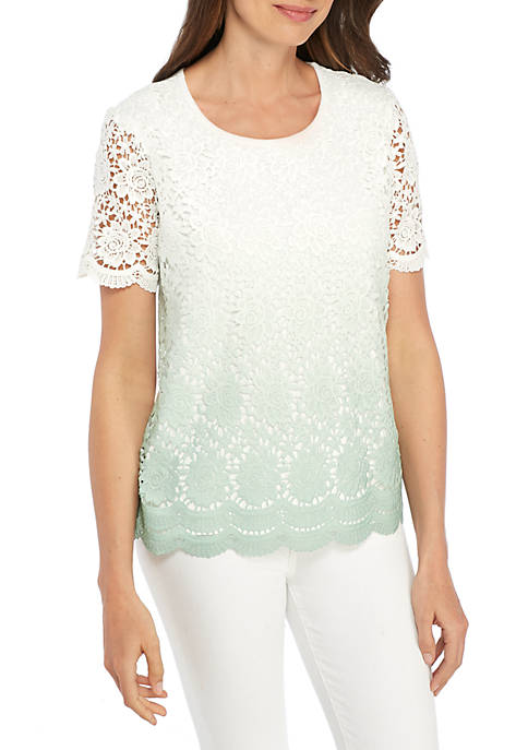 Alfred Dunner Daydreamer Ombre Lace Sweater