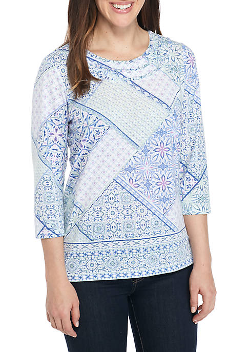 Alfred Dunner Petite Daydreamer Patchwork Knit Top