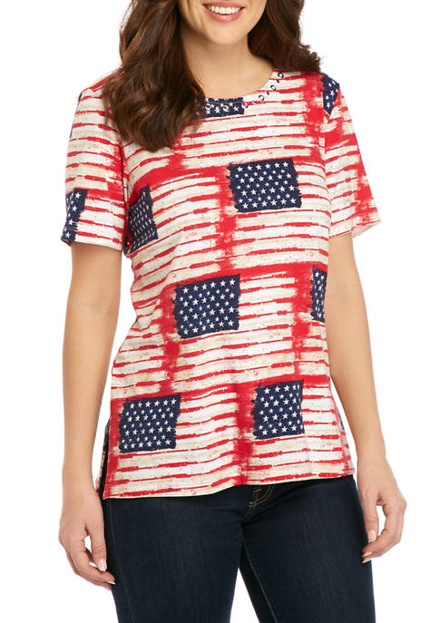 Alfred Dunner Womens Flag Printed T-Shirt