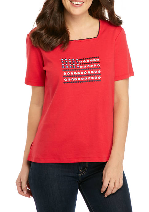 Alfred Dunner Womens Center Flag T-Shirt