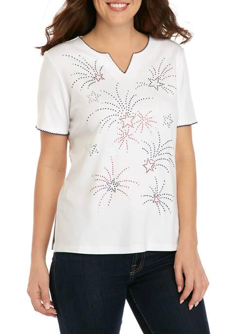 Alfred Dunner Womens Short Sleeve Fireworks T-Shirt