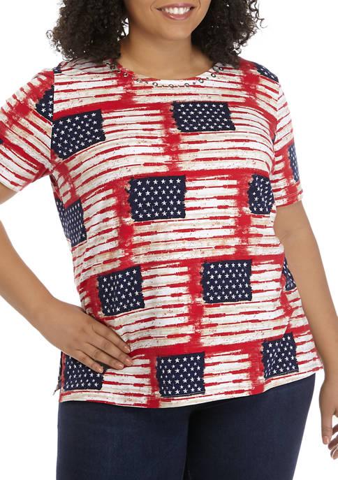 Plus Size Short Sleeve Americana Allover Flag Print T-Shirt