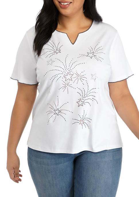Alfred Dunner Plus Size Short Sleeve Fireworks T-Shirt