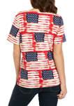 Petite Americana Flag Print Knit T-Shirt