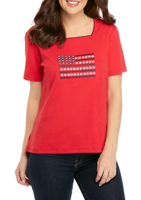 Petite Americana Center Flag Graphic Knit T-Shirt