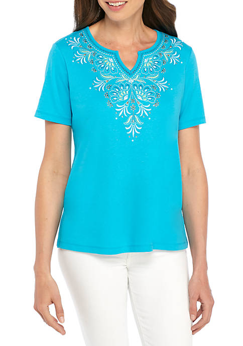 Alfred Dunner Scottsdale Yoke Scroll Embroidered Top