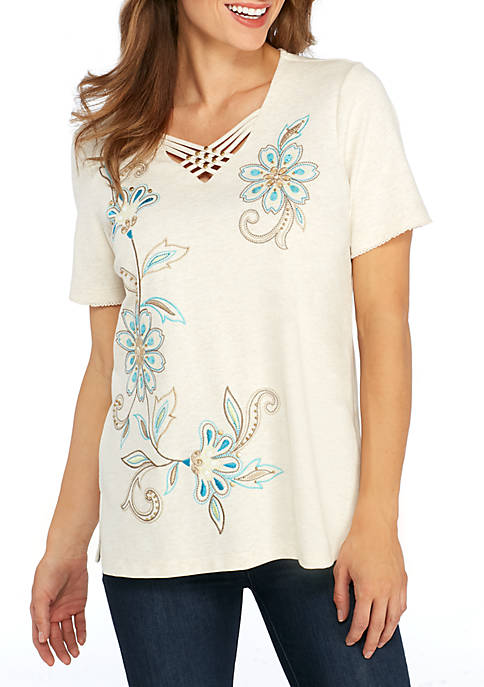 Alfred Dunner Scottsdale Scroll Flower Embroidered Knit Top