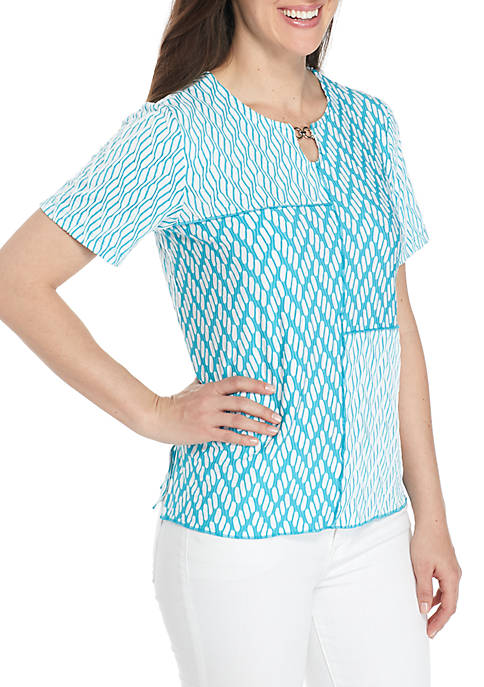 Alfred Dunner Scottsdale Spliced Texture Knit Top