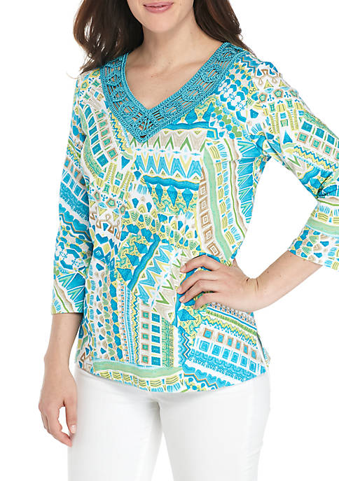 Alfred Dunner Petite Size Scottsdale Patchwork Knit Top