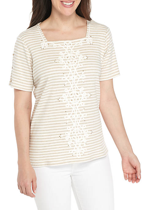 Alfred Dunner Scottsdale Center Scroll Ribbon Stripe Top