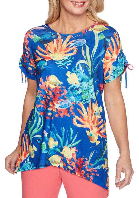 Alfred Dunner Womens Island Hopping Fish Scenic Top