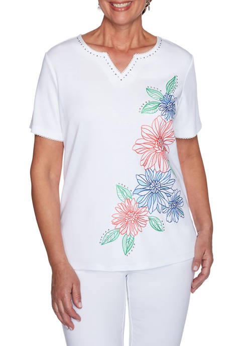 Womens Island Hopping Floral Embroidered Top