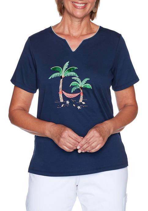 Alfred Dunner Womens Island Hopping Palm Tree Scenic