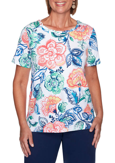 Alfred Dunner Womens Island Hopping Batik Floral Top