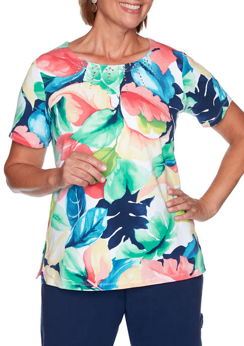 Alfred Dunner Womens Island Hopping Tropical Print Top