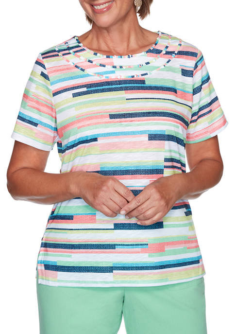 Alfred Dunner Womens Island Hopping Textured Biadere Top