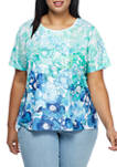 Plus Size Island Hopping Short Sleeve Printed Top