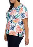 Plus Size Island Hopping Short Sleeve Batik Floral Top