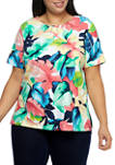 Plus Size Island Hopping Short Sleeve Tropical Floral Print Top