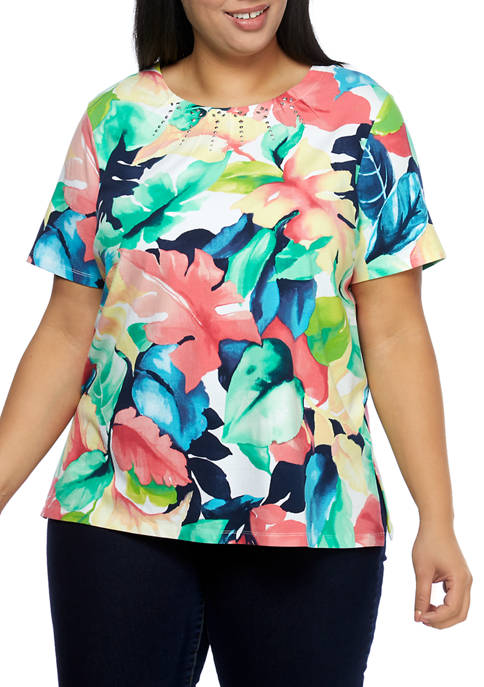 Alfred Dunner Plus Size Island Hopping Short Sleeve