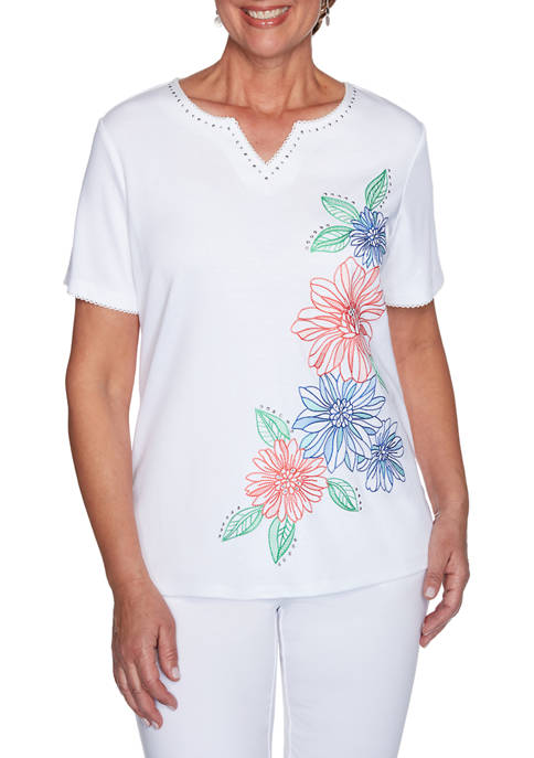 Petite Island Hopping Short Sleeve Floral Embroidered Top
