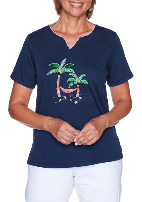 Alfred Dunner Petite Island Hopping Short Sleeve Palm