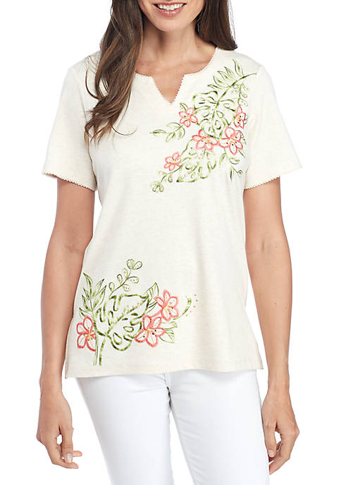 Alfred Dunner Parrot Cay Tropical Asymmetrical Embroidered Knit