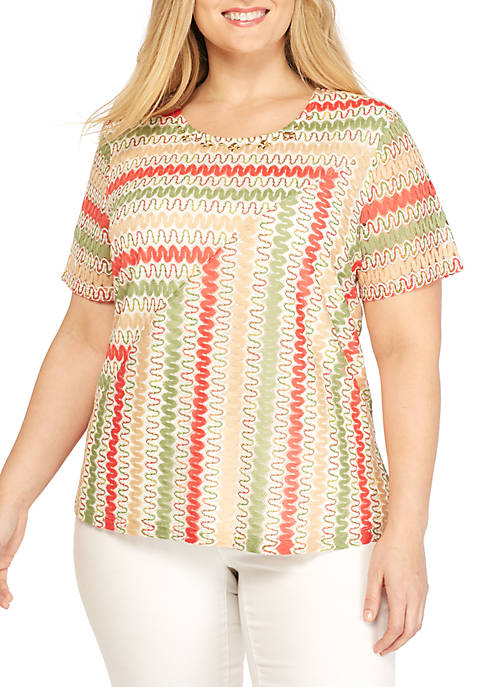 Alfred Dunner Plus Size Spliced Zig Zag Knit