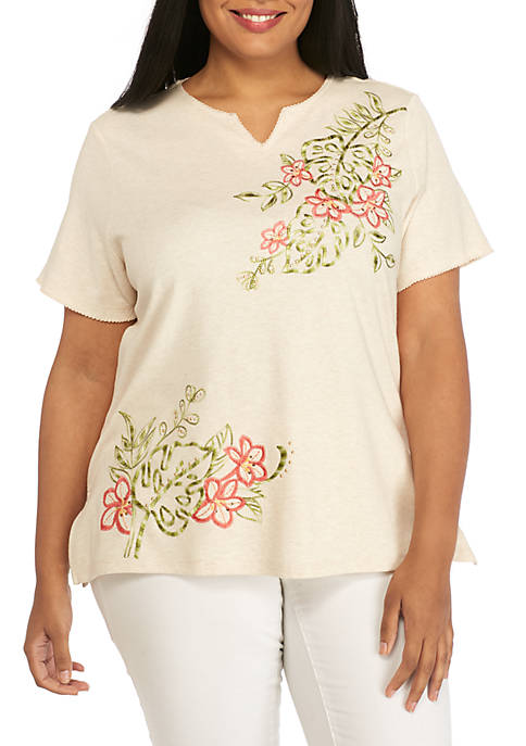 Alfred Dunner Plus Size Tropical Asymmetrical Embroidered Knit