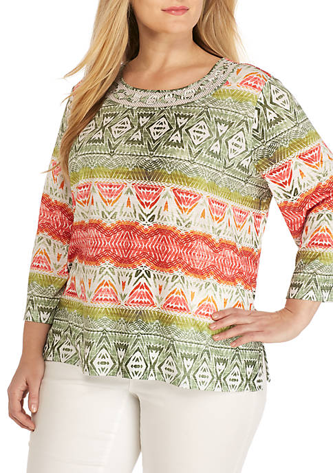 Alfred Dunner Plus Size Ikat Biadere Top