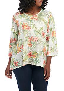 Plus Size Parrot Cay Hibiscus Knit Blouse