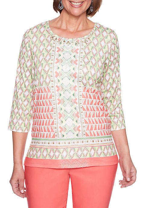 Alfred Dunner Petite Geometric Border Printed Top