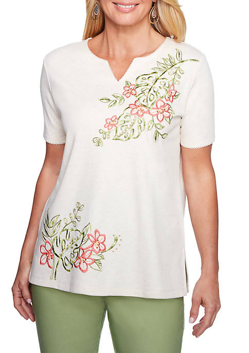 Alfred Dunner Petite Tropical Asymmetrical Embroidered Knit Top
