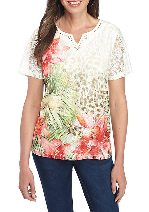 Alfred Dunner Tropical Skin Knit Blouse
