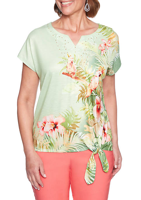 Alfred Dunner Petite Parrot Knit Top